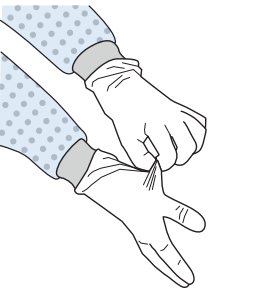 Nurse removing protective gloves