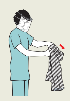 Nurse disposing of used long sleeved protective medical gown
